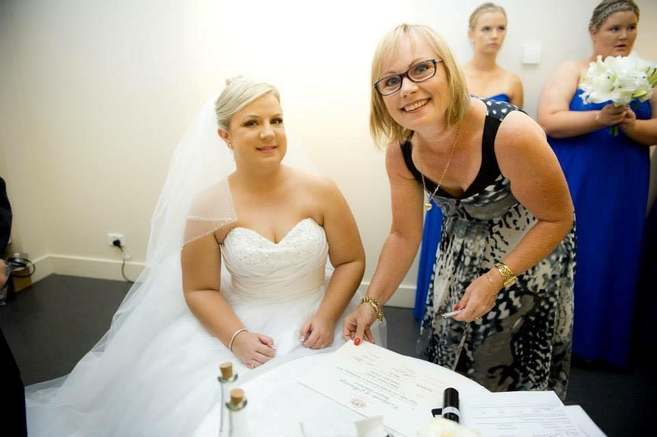 Marriage Celebrant Maggie Costello and Bride